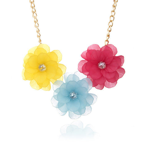 Colorful Plastic Flower Maxi Vintage Women Choker Statement Necklace