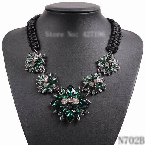 Fashion Crystal Flower Pendant Black Rope Chain Chunky Necklace