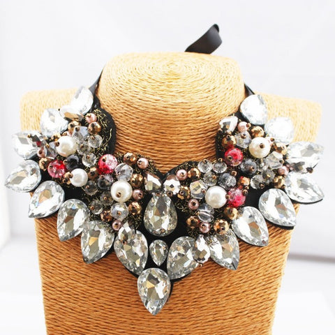 Ribbon Chain Rhinestone Unique Statement Necklace
