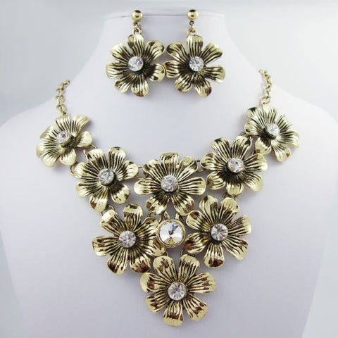 Art Deco-Style Charming Gilded Flowers Rhinestone Pendants Necklace Set