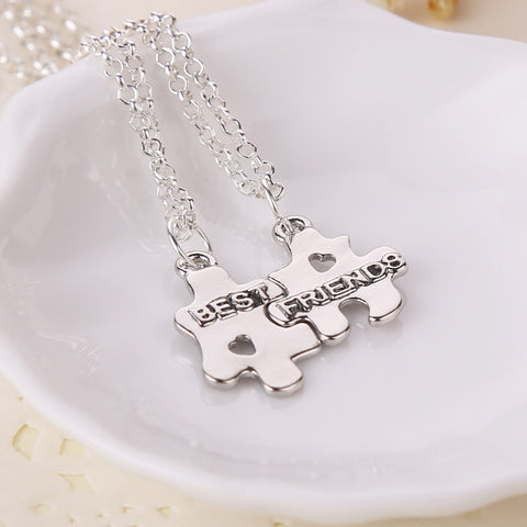 Best Friends Forever Puzzle Pendant Couple Necklace