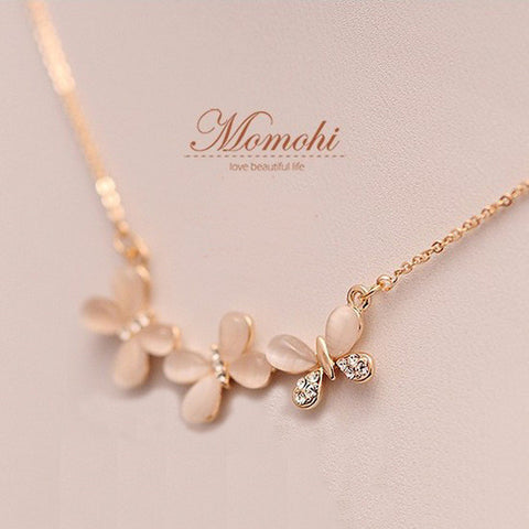 Opal Crystal Butterfly Clavicle Necklace