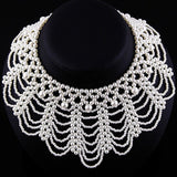 Faux Pearls Sweet Braided Lace Collar Necklace