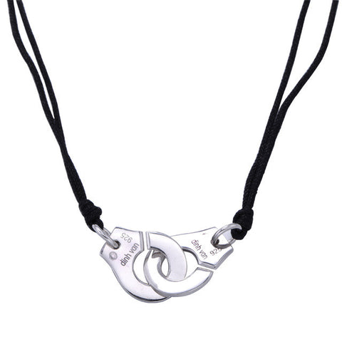 Sterling Silver Handcuff Pendant & Necklace With Rope