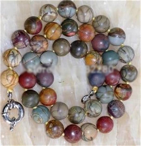 10mm Handmade Beads AAA Natural Multicolor Picasso Jasper Necklace 18""