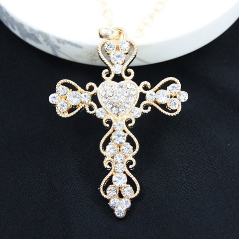 Gold plated big cross fashion chain necklaces pendants 2016 for gold plated big cross fashion chain necklaces pendants 2016 for women baroque costume silver plated nickel mozeypictures Image collections