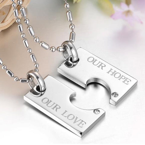 His and her promise stainless steel matching puzzle love heart his and her promise stainless steel matching puzzle love heart couple necklaces pendants with aaa aloadofball Choice Image