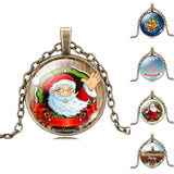 Christmas Gift Necklace Glass Cabochon Chain Necklace