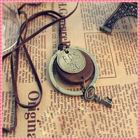 Vintage Pendant Necklace Women | Men Wood Key Decoration Rope