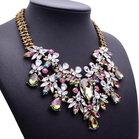 Colorful Flower Necklace Gem Chain Luxury Necklace