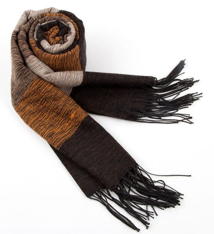 Faux Wool Luxury Striped Cashmere Scarf