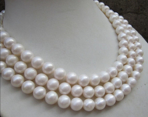10-11MM PERFECT ROUND SOUTH SEA WHITE PEARL NECKLACE 54""