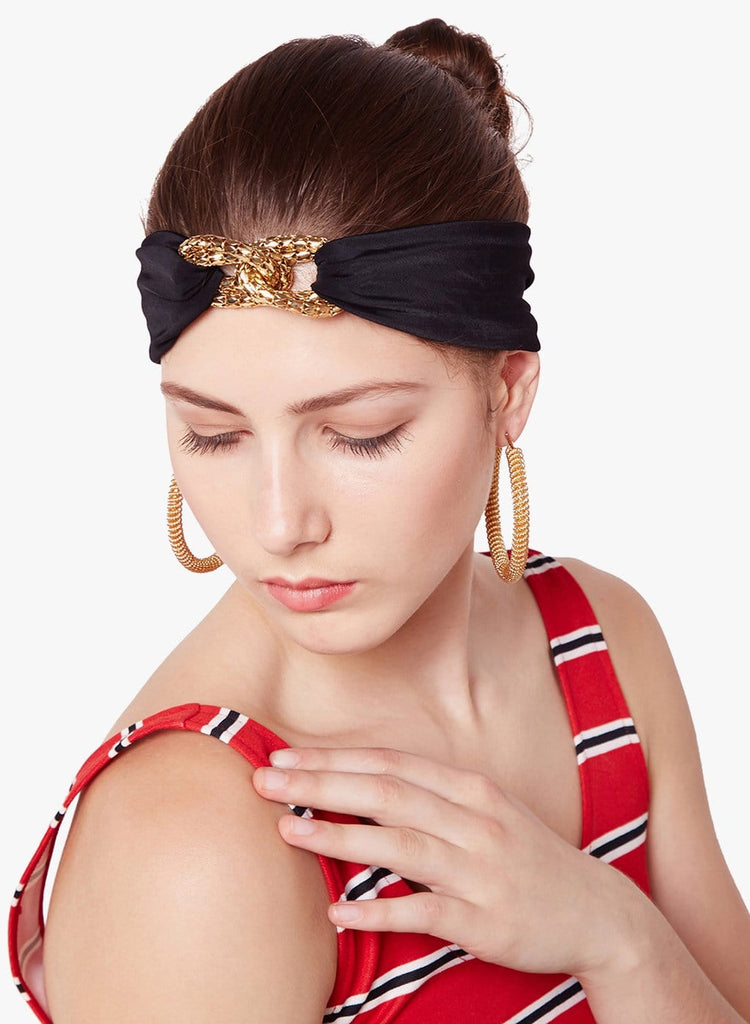 Escher's Knot Turban Band-Black - Hair Drama Company