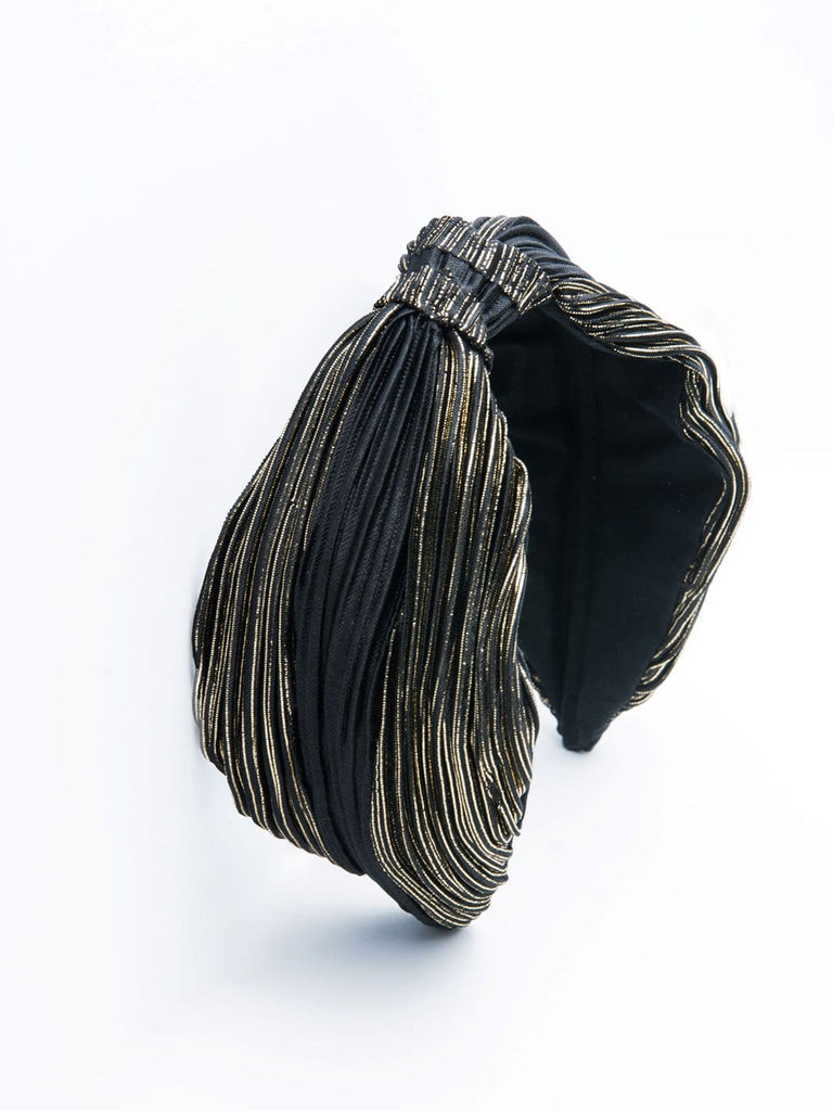 Black & Black Reverse Crinkled Fabric Headband - Hair Drama Company