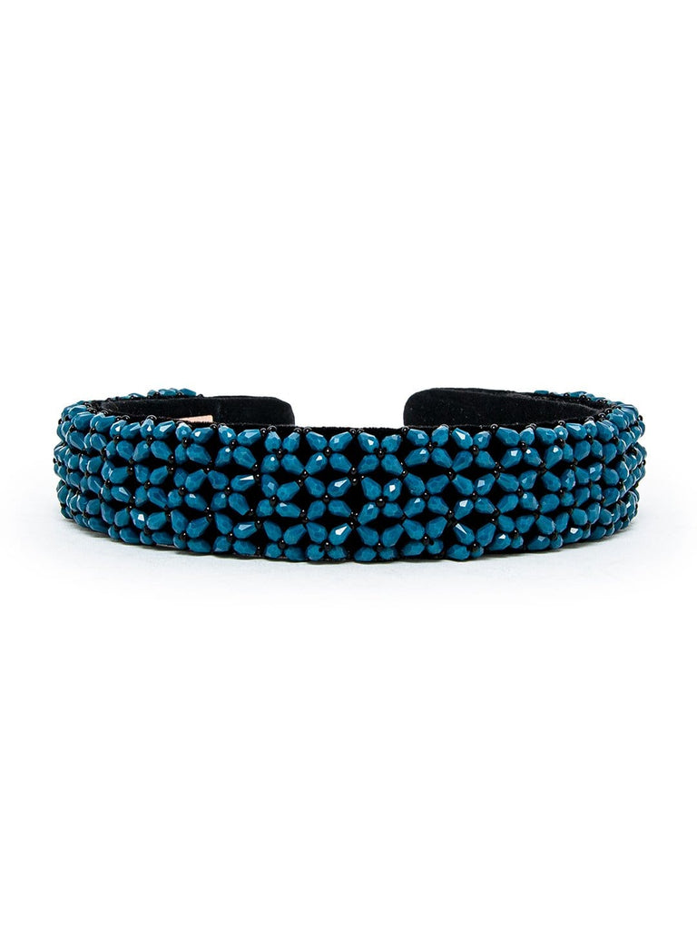 BEAD EMBROIDERED BROAD BLUE -HEADBAND - Hair Drama Company