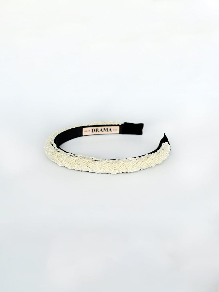 SLEEK WHITE HEADBAND WITH BEAD EMBELLISHMENT - Hair Drama Company