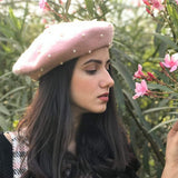 Hair Drama Company Pink French Beret With White Pearl Embellishment - Hair Drama Company