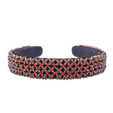 BEAD EMBROIDERED-BROAD RED HEADBAND