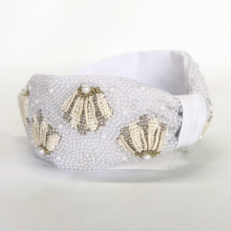 Shell & Pearl Knotted Headband - White