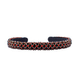 BEAD EMBROIDERED -SLEEK RED HEADBAND
