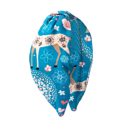 Blue Deer Printed Knotted Headband