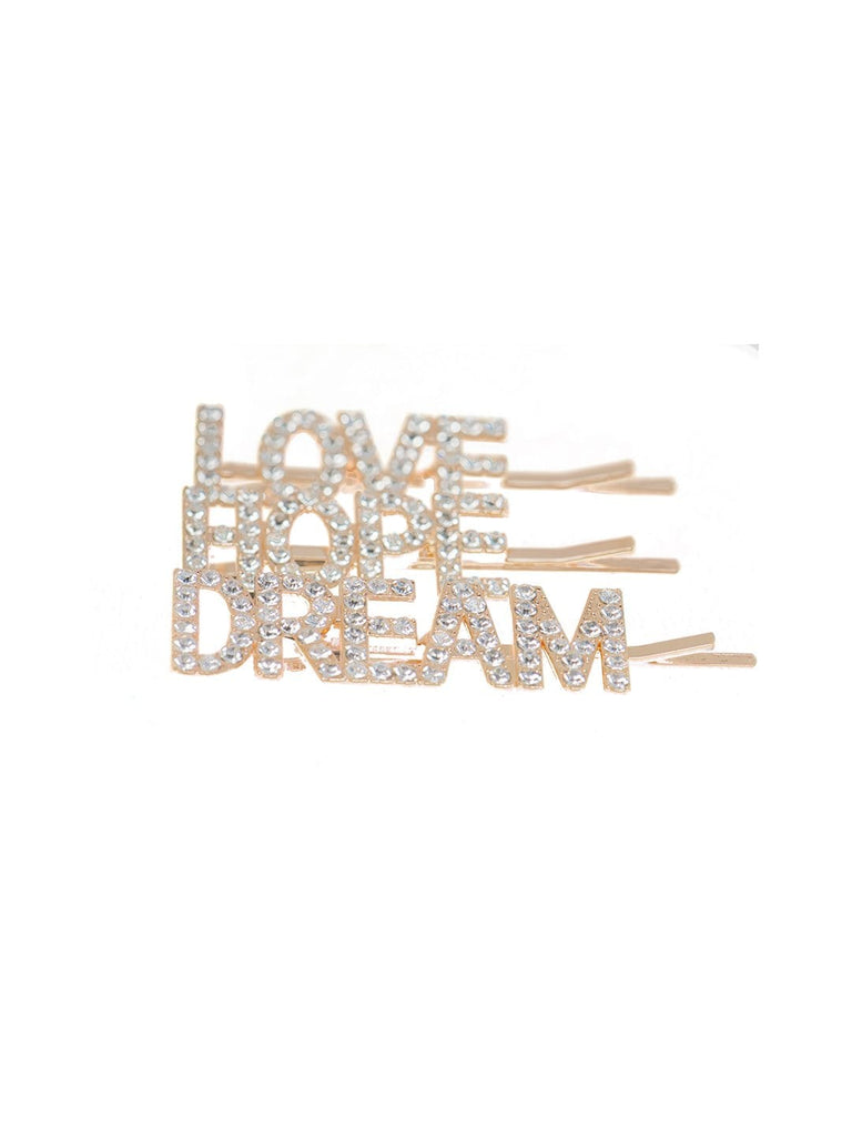 Hair Drama Company Love Hope Dream Crystal Hair Clips (Set of 3 pins)