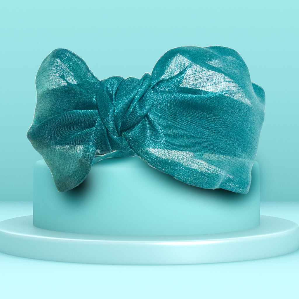 ORGANZA KNOTTED HEADBAND - GREEN