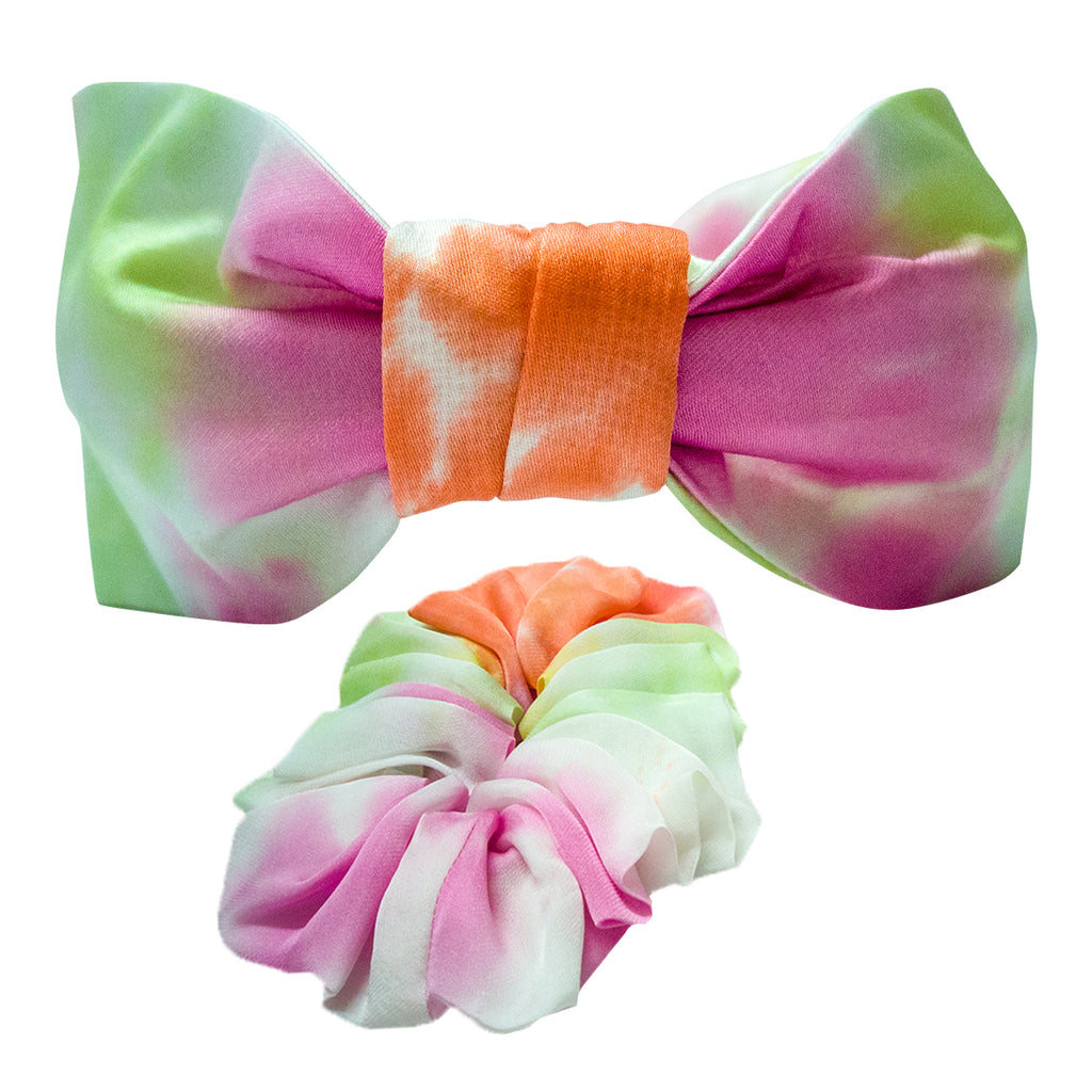 TIE & DYE HEADBAND & SCRUNCHIE SET -ORANGE