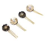 Brown Floral Bob Pins Set of 4 - Hair Drama Company