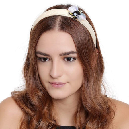 Bug Off White Leather Headband - Hair Drama Company