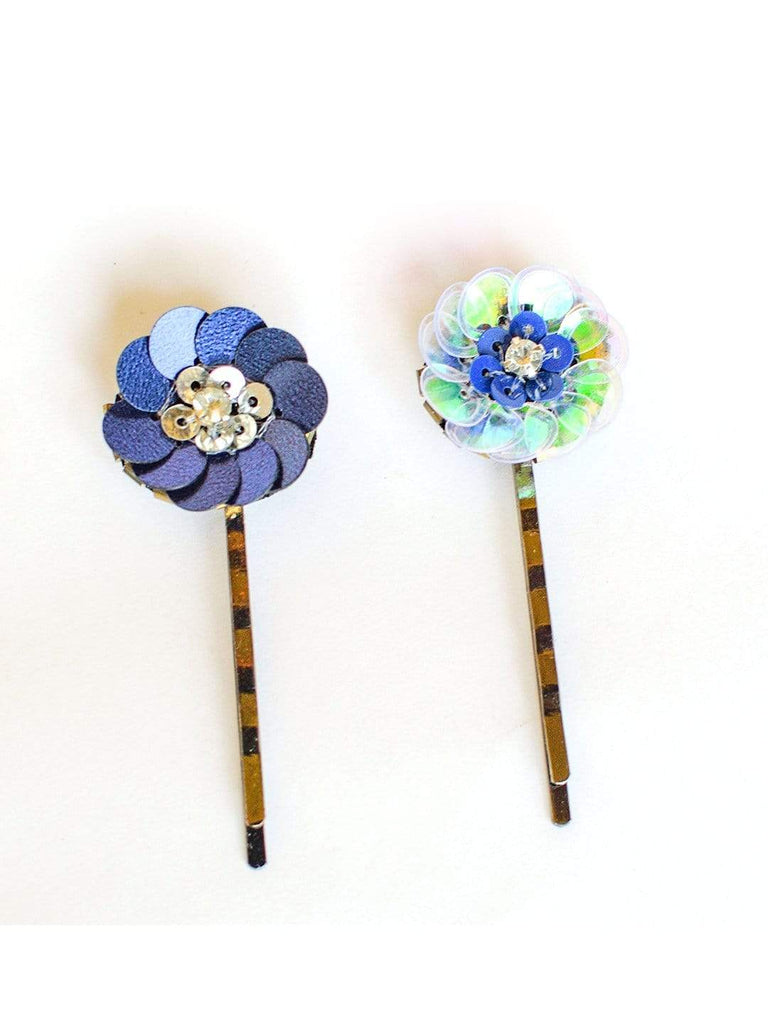 FLORAL PINS BLUE & WHITE SET OF 2