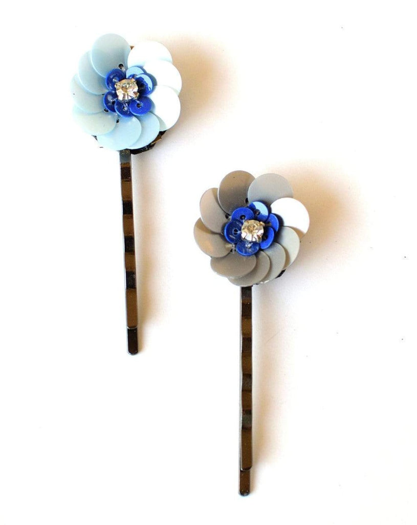 FLORAL PINS GREY & BLUE SET OF 2