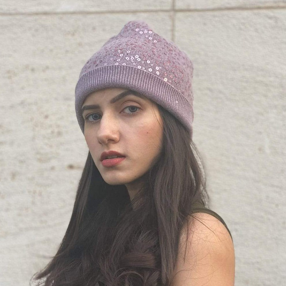Hair Drama Company Purple Sequin Beanie - Hair Drama Company