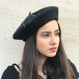 Black French Beret With Silver Swarovski Stones