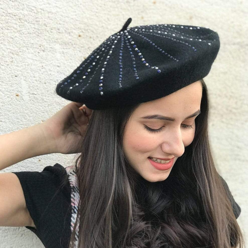 Hair Drama Company Black French Beret With Silver Swarovski Stones - Hair Drama Company