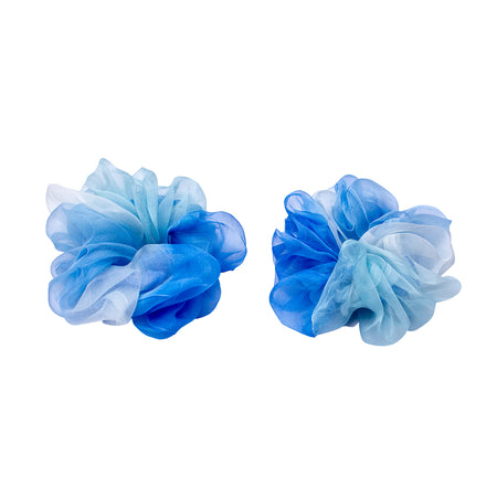 BLUE ORGANZA SCRUNCHIES-SET OF 2