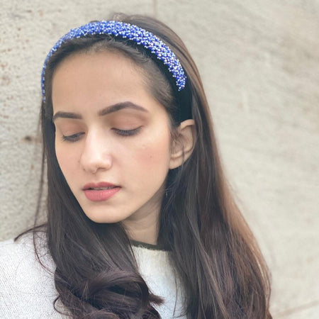 Broad Headband with Bead Embroidery- Blue - Hair Drama Company