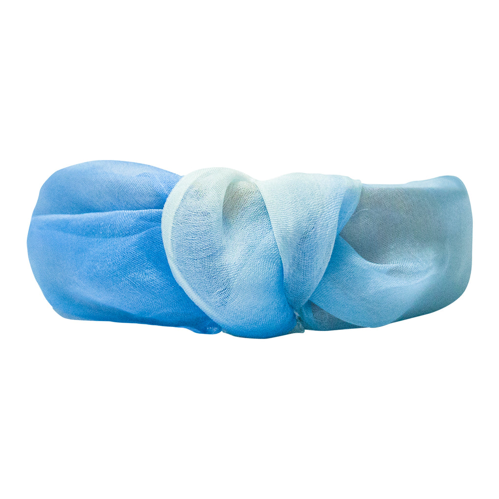 ORGANZA KNOTTED HEADBAND - BLUE SHADED