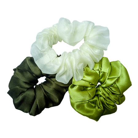 GREEN SCRUNCHIES SET - SET OF 3