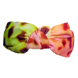 LEOPARD PRINTED KNOTTED HEADBAND - YELLOW & PINK