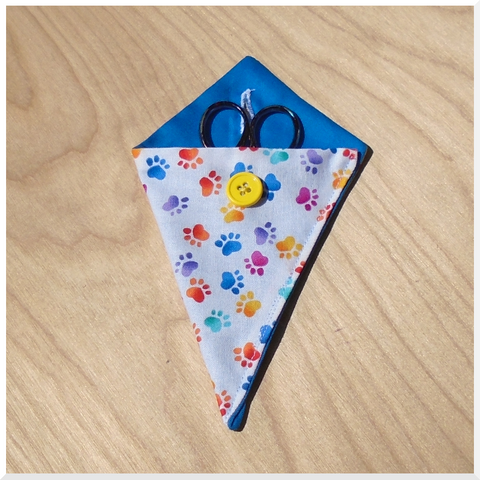 Rainbow Paw Prints on White Snips/Scissors Case - Scissors not included