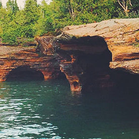 SUP at the Apostle Islands Caves