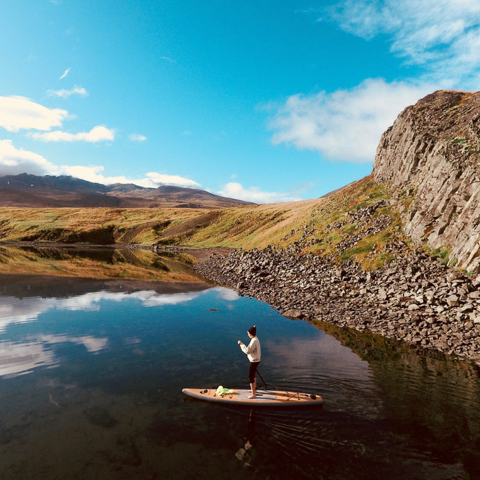 Paddle North Portager paddling Iceland fjords.