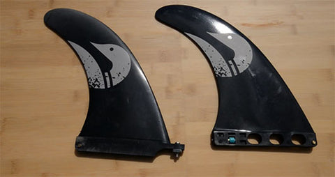 Screw and plate (left) and quick release (right) fin setups