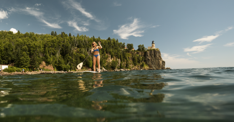 Paddle boarding by Splitrock Lighthouse