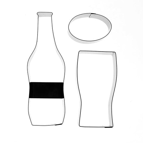 BEER BOTTLE, GLASS AND LABEL – 3 SET
