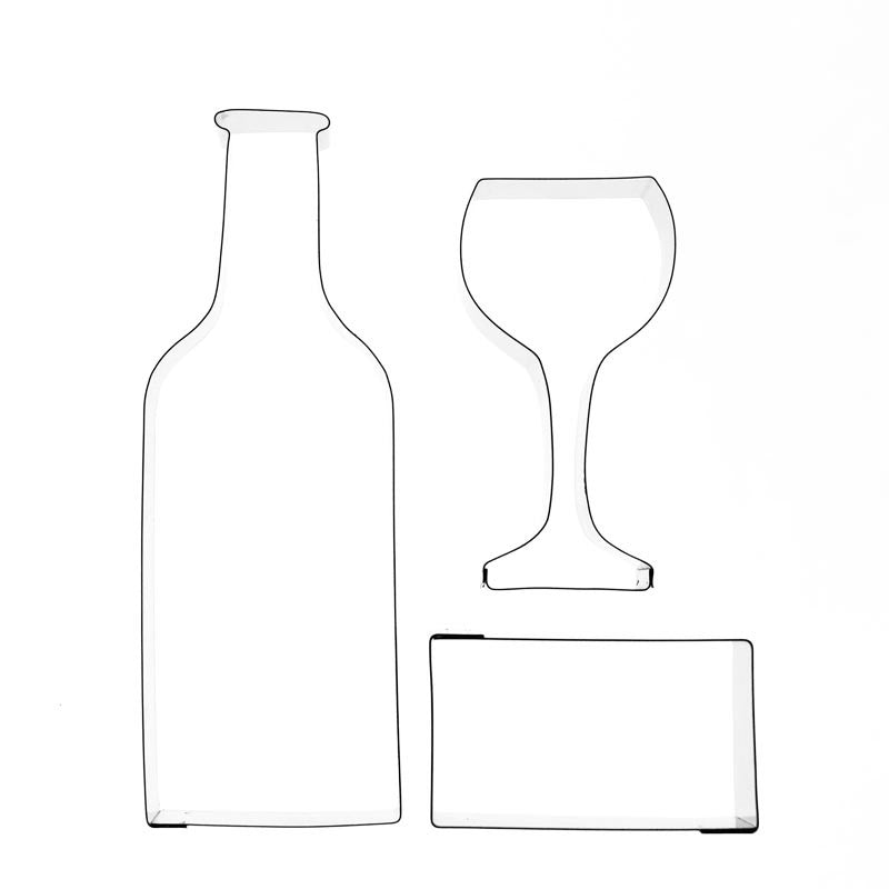WINE BOTTLE, GLASS AND LABEL – 3 SET