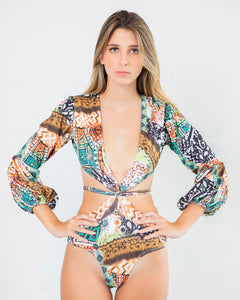 Golden Mix Print One Piece