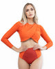 Long Sleeve Pure Orange Bikini