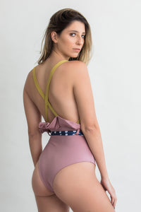 Solid mix elegant one piece